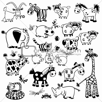 set with cartoon animals black white