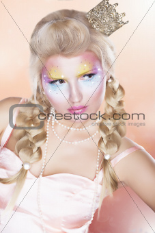 Retro Style. Beautiful Princess - Gold Crown - Blond Braid Hair