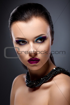 Classy Strict Stylish Lady  close up Portrait - Bright Evening Makeup