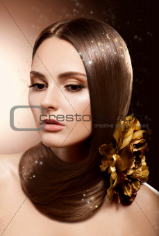 Woman with Beauty Long Brown Hair - Complexion and Coloring