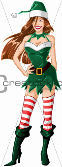 Woman Dressed In Sexy Elf Clothes For Christmas