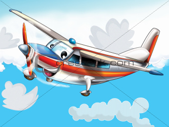 Little happy, cartoon plane