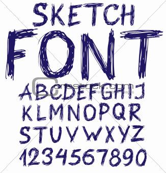 Handwritten blue sketch alphabet