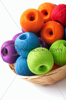 Basket crafts and sewing over white