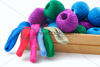 threads for needlework in a wooden box.