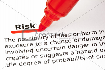 Risk underlined with red marker