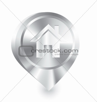 Home icon metal drop pin vector