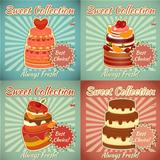 Set of Retro Cards with Cake