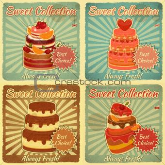 Set of Retro Cards with Cake