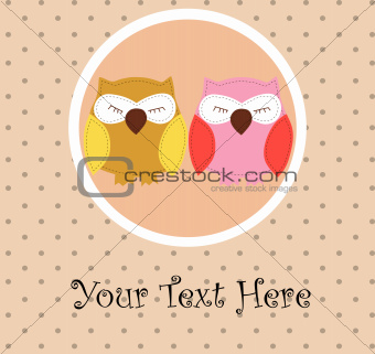 Card with sleeping owls for your design
