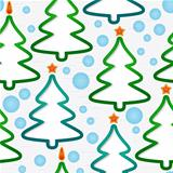 Seamless pattern with christmas-trees and snowflakes