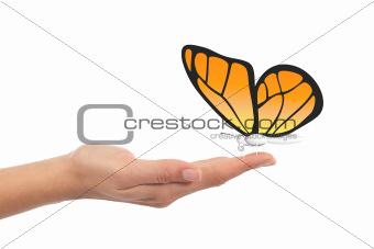 Butterfly in woman hand