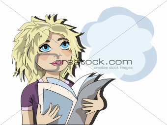 Blond girl reading