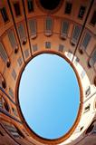 oval blue sky in in Italian urban court