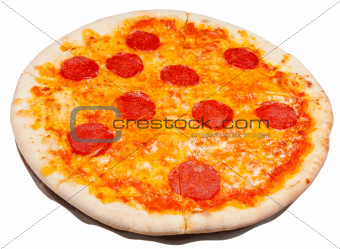 italian pizza with spicy salami