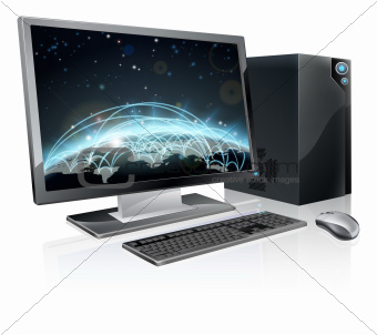 Desktop computer world globe