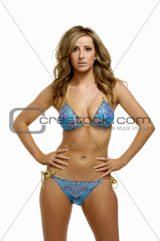 Woman in a blue patterned bikini