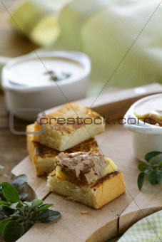 Homemade chicken liver pate and  piece of bread