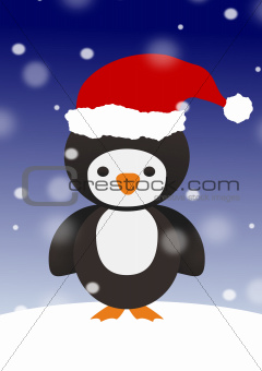 Penguin in Santa hat