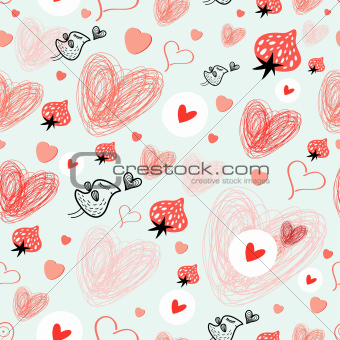 texture of hearts and birds