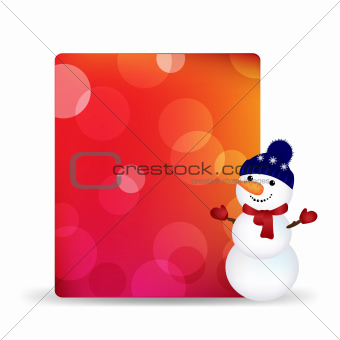 Blank Gift Tag With Snowman And Bokeh