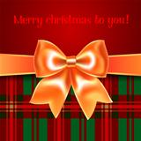 Merry Christmas background with yellow ribbon bow, 10eps