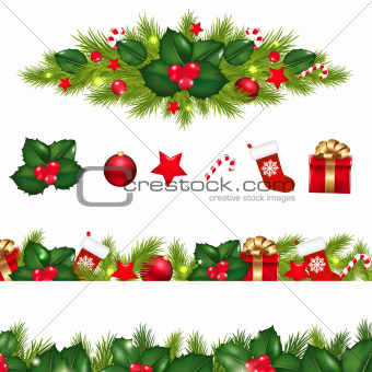 Christmas Borders Set With Xmas Garland