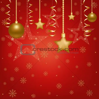 Christmas Red Card With Christmas Balls And Star
