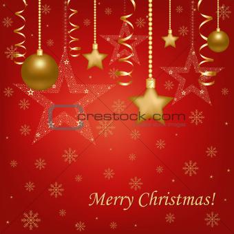Christmas Red Card With Christmas Balls And Stars