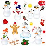 Collection Of Snowmen And Christmas Icons