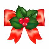 Red Bow With Holly Berry