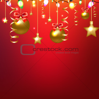 Red Card With Stars And Christmas Ball