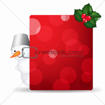 Snowman Man With Blank Gift Tag And Holly Berry