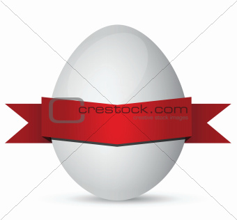 white Easter eggs with red ribbon