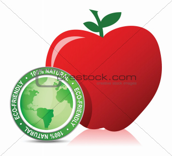 red apple with bio seal