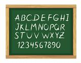 School board with chalk alphabet letters