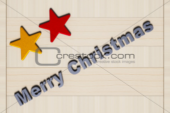 Painted stars, Merry Christmas and wooden board