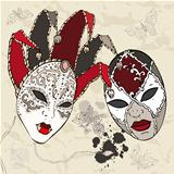 Hand Drawn Venetian  carnival masks.
