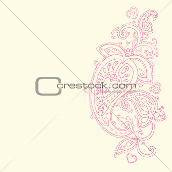 Paisley background. Hand Drawn ornament.