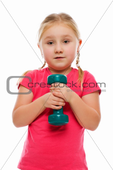Little girl with dumbbell.