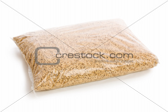 wooden pellets in plastic bag