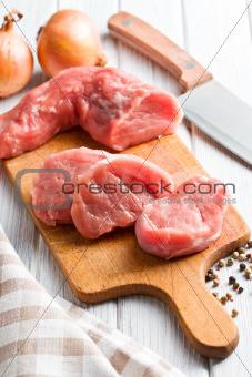 sliced raw pork meat