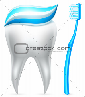 Tooth with toothpaste and toothbrush.