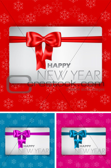 Happy New Year card with bow and ribbon