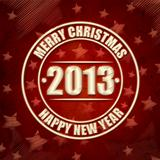 Merry Christmas and Happy New Year 2013 in circles over red retr