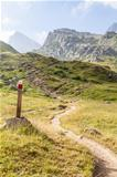 Path sign on Italian Alps