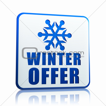 winter offer white banner with snowflake symbol