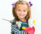 smiling girl with drill