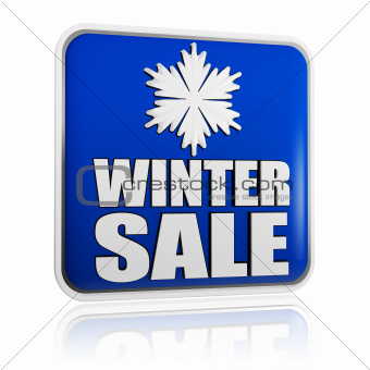 winter sale blue banner with snowflake symbol