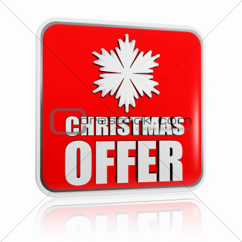 christmas offer red banner with snowflake symbol